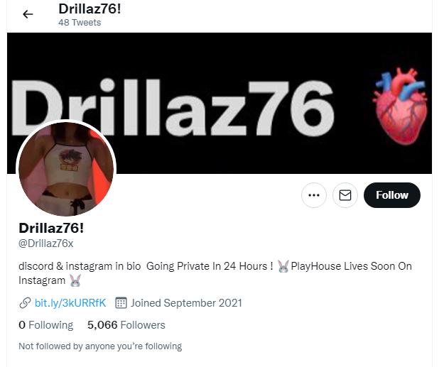 Drillaz76X Twitter page Explored